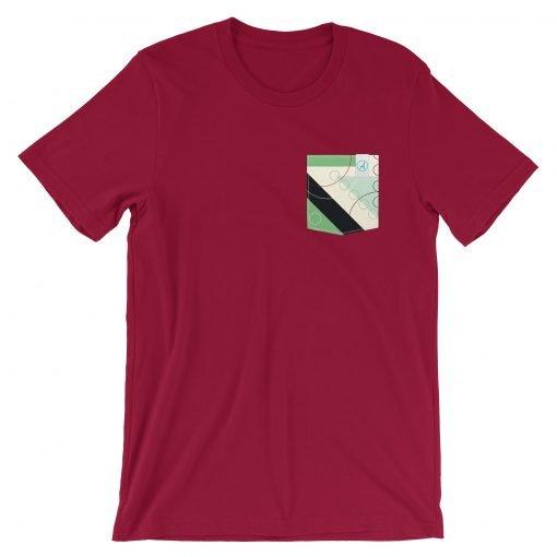 Dark red t-shirt with Balsam pattern pocket